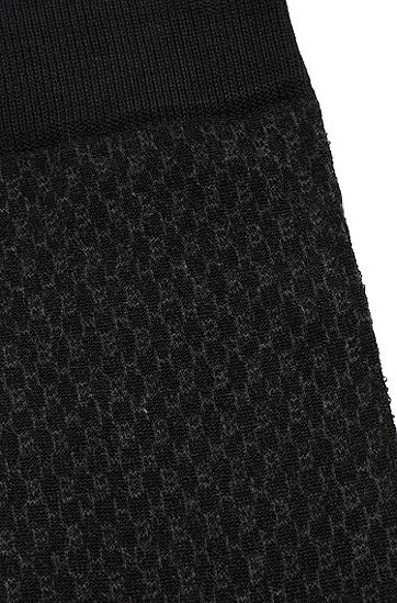 饰以交织文字图案的丝光棉质混纺短袜,  001_黑色