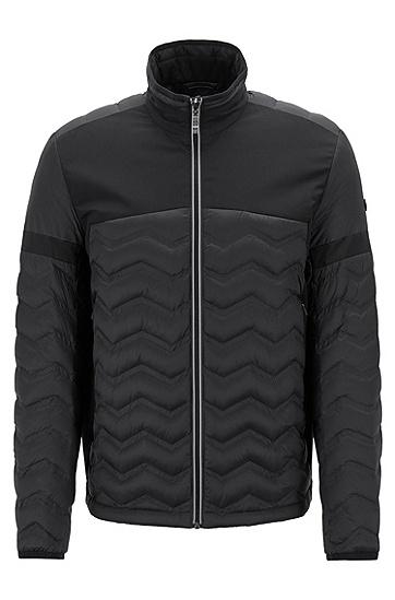 男士拼接立领保暖刺绣LOGO薄款棉衣,  001_黑色