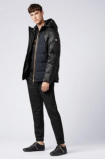 男士拼接连帽灰鸭绒保暖羽绒服,  001_黑色