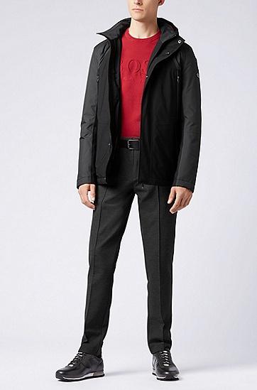 舒适保暖拼接连潮帽棉袄棉衣,  001_黑色