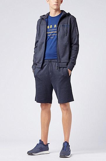 饰以金属色艺术插图的水手领纯棉T恤,  407_暗蓝色