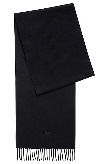 饰以流苏下摆的意大利制造Tailored系列羊绒围巾,  480_淡蓝色