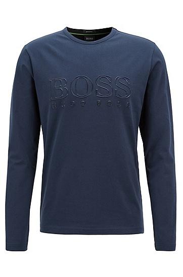饰以反光logo的弹力棉长袖T恤,  410_海军蓝色