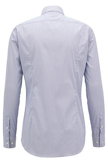 修身版弹力棉混纺条纹衬衫,  420_中蓝色