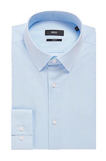 修身版意大利棉质府绸印花衬衫,  450_浅蓝色