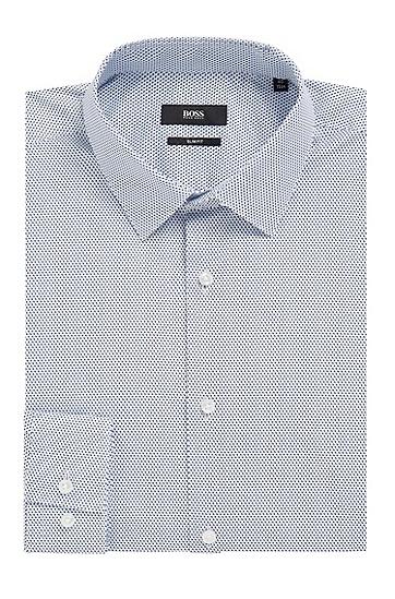 修身版意大利棉质府绸微型印花衬衫,  410_海军蓝色