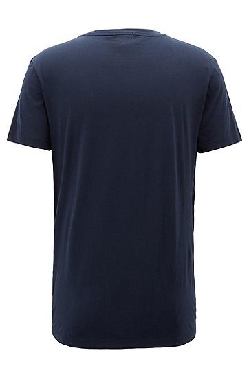 水洗皮马棉水手领图形化T恤,  404_暗蓝色