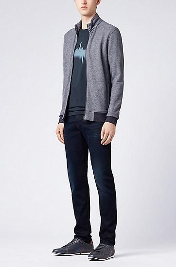 网眼结构拉链式平纹单面针织布外套,  404_暗蓝色