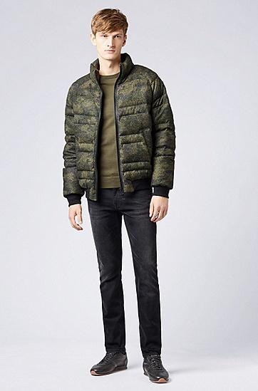 迷彩毡质面料羽绒服,  302_暗绿色