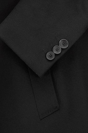 羊毛和羊绒混纺平驳头正装大衣,  001_黑色