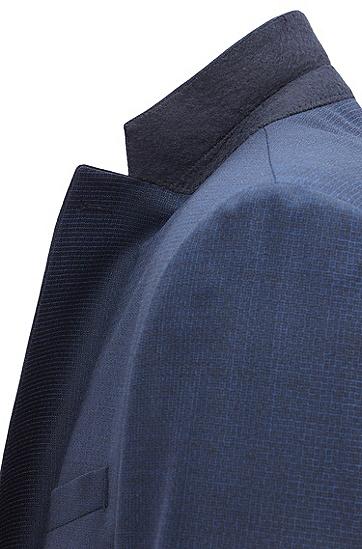 修身版梭织图案羊毛西装套装,  410_海军蓝色