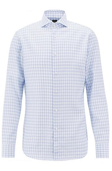 BOSS Tailored系列修身版格伦格纹棉质衬衫,  450_浅蓝色