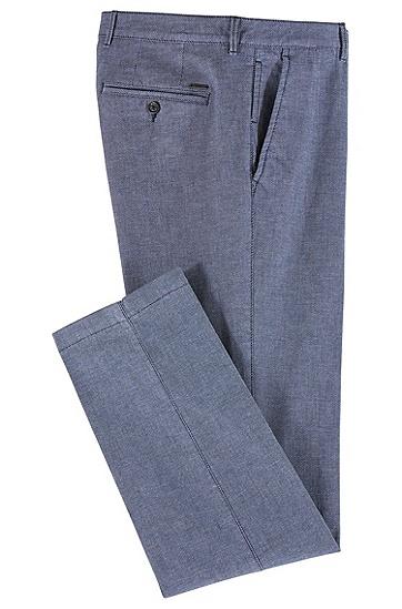 常规版微型图案弹力棉斜纹棉布裤,  410_海军蓝色