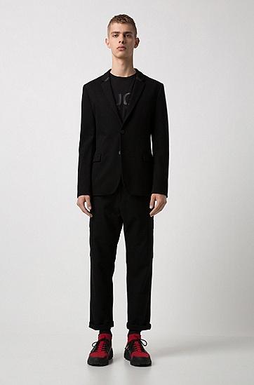 男士修身黑色单排扣西服外套,  001_黑色