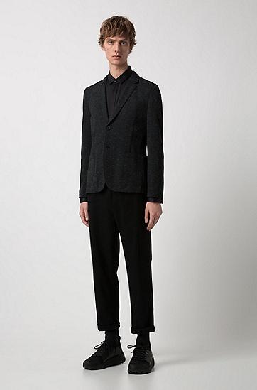 男士修身潮流单排扣西服外套,  001_黑色