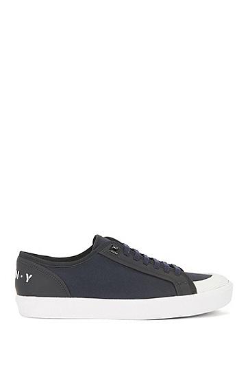秀场款棉与皮革混合材质低帮运动鞋,  401_暗蓝色