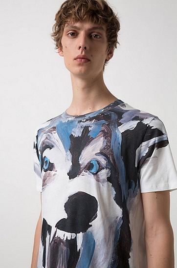 饰以风格鲜明艺术插图的休闲版T恤,  100_白色