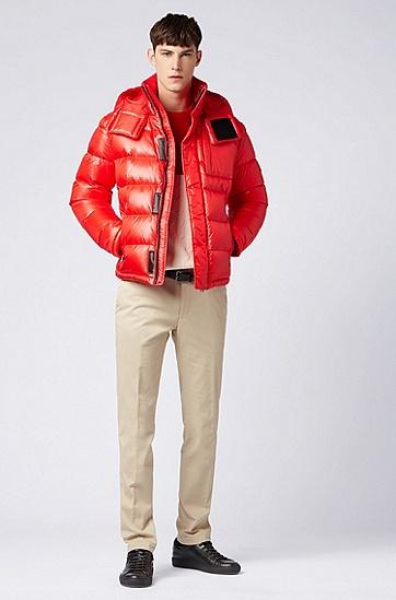 带可拆卸风帽的甲克衫风格羽绒服,  625_亮红色