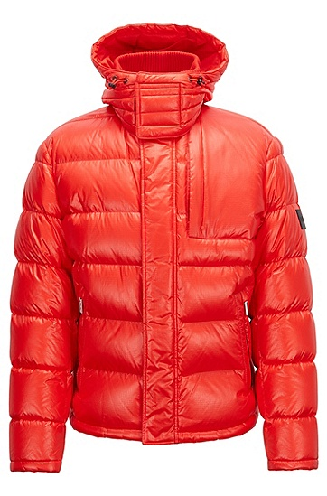 男士可拆卸风帽的甲克衫风格羽绒服,  625_亮红色