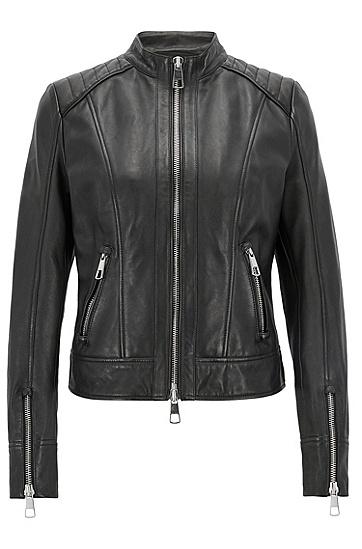 常规版软羊革机车夹克,  001_黑色