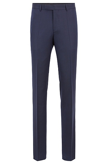 修身版帆布结构羊毛西装套装,  401_暗蓝色