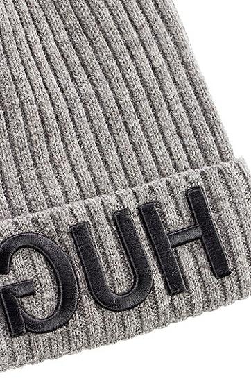 女士反转logo针织毛线帽,  032_中灰色