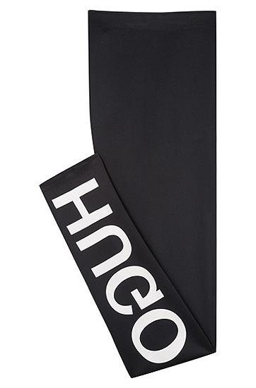 饰以logo的修身版弹力面料长裤,  001_黑色