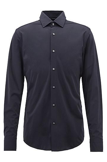 高性能意大利弹力面料修身版衬衫,  404_暗蓝色