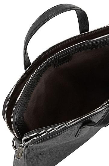 带两个主要存放空间的意大利粒面革公文包,  001_黑色