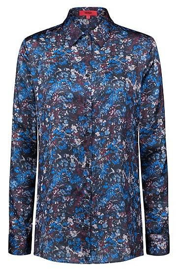 常规版花卉迷彩印花绸缎女士衬衫,  961_多色