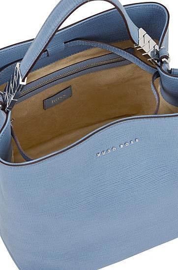 带拉绳的意大利压花牛皮革水桶包,  450_浅蓝色