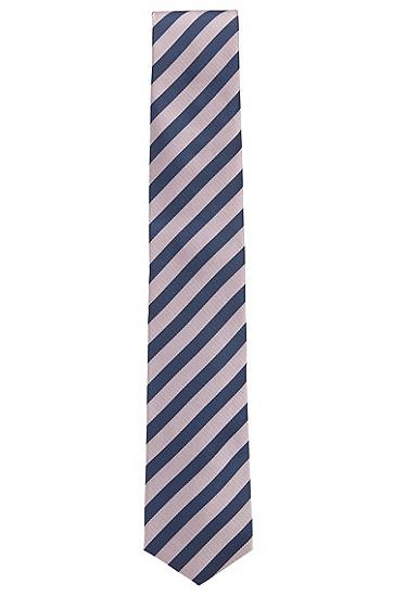 桑蚕丝斜条纹领带,  687_浅粉色