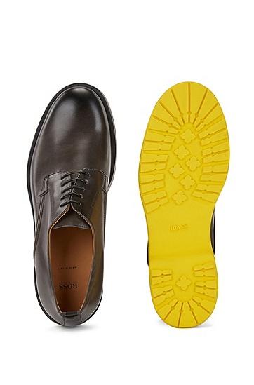凹凸鞋底磨砂牛皮革德比鞋,  021_暗灰色