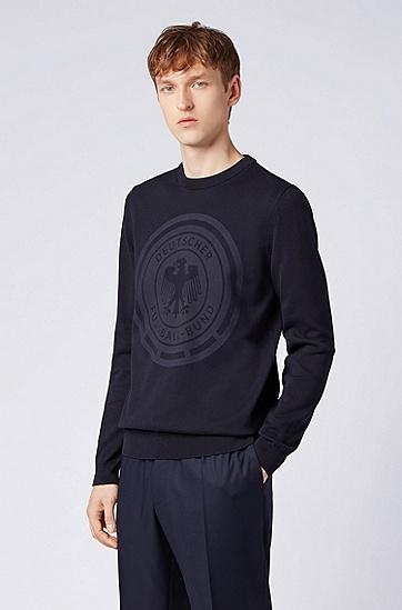 Logo印花棉质运动衫,  402_暗蓝色