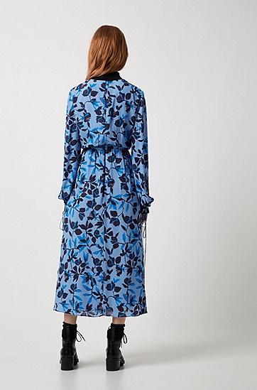 饰以花卉印花和蝴蝶结细节的轻质迷笛连衣裙,  961_多色