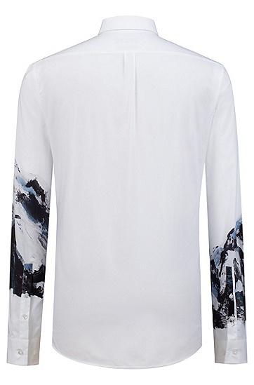 修身版山峰印花棉质衬衫,  199_淡白色