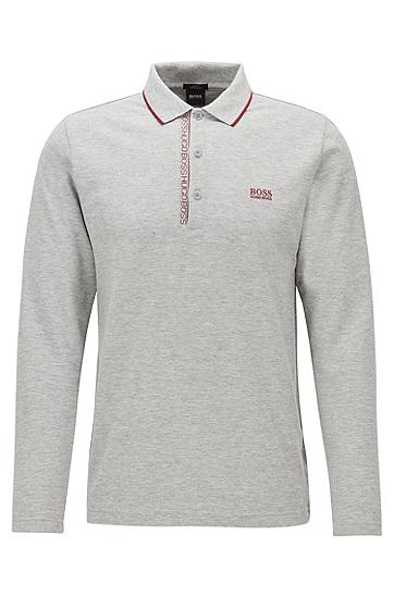 男士运动休闲修身版棉质长袖Polo衫,  061_淡灰色