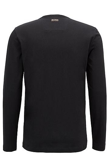 男士运动休闲常规版棉质长袖T恤,