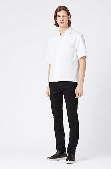 男士中低腰纯色牛仔裤,  001_黑色