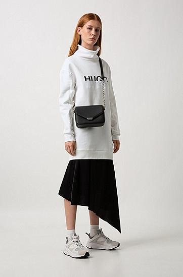 女士高领长袖中长款LOGO印花棉质卫衣,  102_天然色