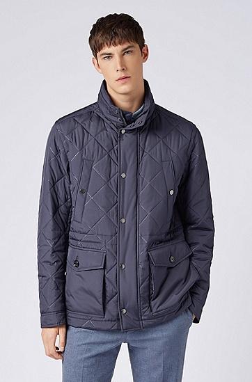 男士时尚立领菱格保暖棉服,  402_暗蓝色