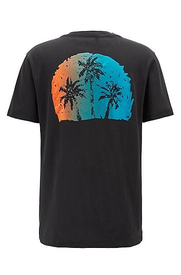 男士印花短袖T恤,  001_黑色
