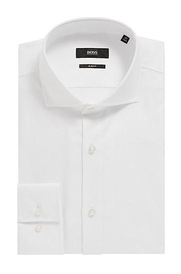 男士趣味图案棉质修身衬衫,  101_天然色