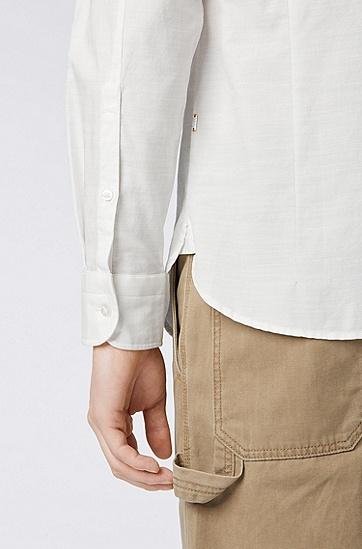 男士商务休闲长袖衬衫,  100_白色