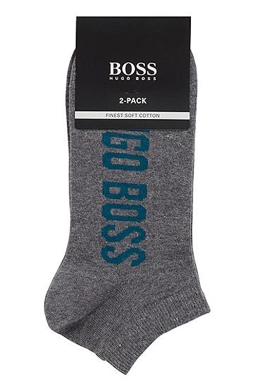 男士休闲LOGO印花短筒袜,  031_中灰色