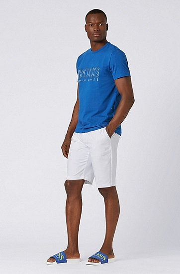 男士LOGO印花短袖T恤,  463_淡蓝色