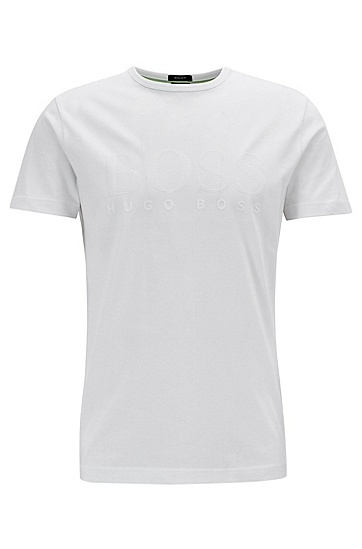 男士时尚LOGO印花短袖T恤,  415_海军蓝色