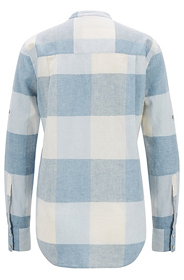 女士时尚休闲衬衫,  417_海军蓝色