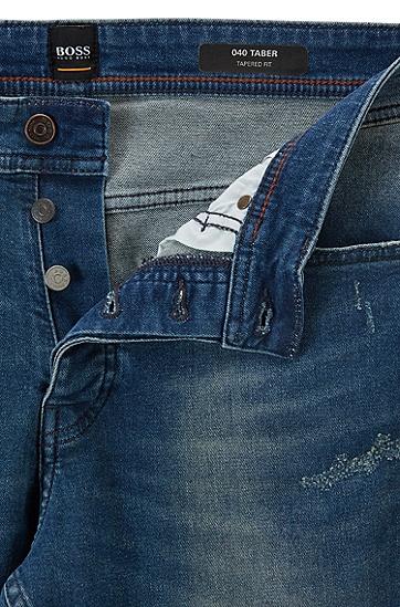 男士休闲破洞直筒牛仔裤,  413_海军蓝色