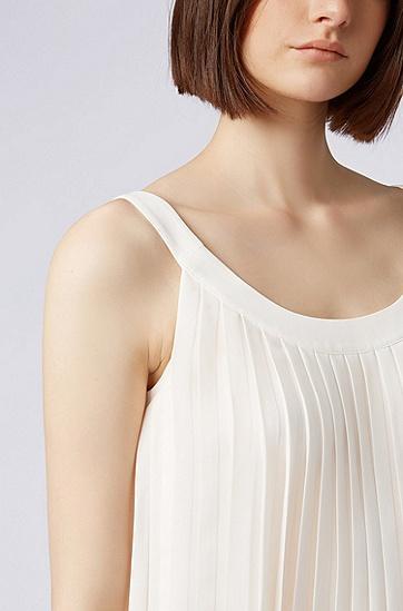 女士百褶吊带背心,  118_淡白色